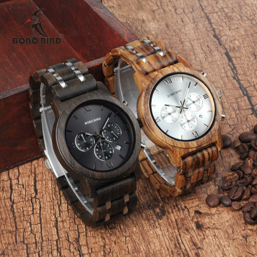 Relogio Masculino Wood Metal Strap Watch For Men