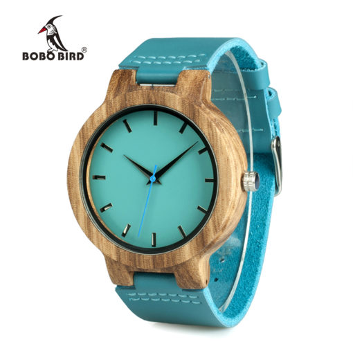 Turquoise Blue Relogio Masculino Wooden Watch For Women