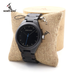 Ebony Japanese Movement Wristwatch with Bamboo Box