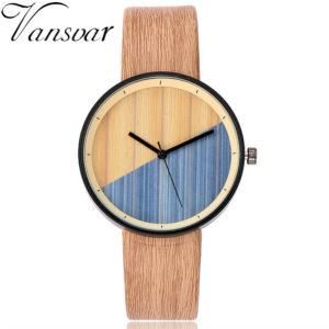 Vintage Leather Women's Wood Wristwatch