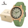 Bamboo Wood Watch With Soft Silicone Strap