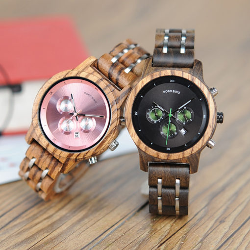 Luxury Wood Metal Strap Chronograph Date Quartz Watch
